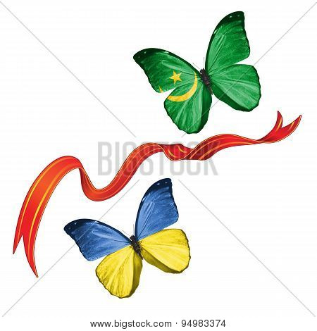 Two butterflies with symbols of Ukraine and Mauritania