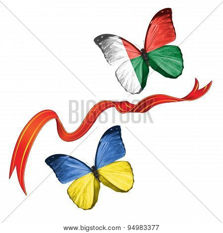 Two butterflies with symbols of Ukraine and Madagascar