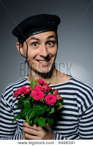 Funny Romantic Sailor Man Holding Rose Flowers Prepared For A Date