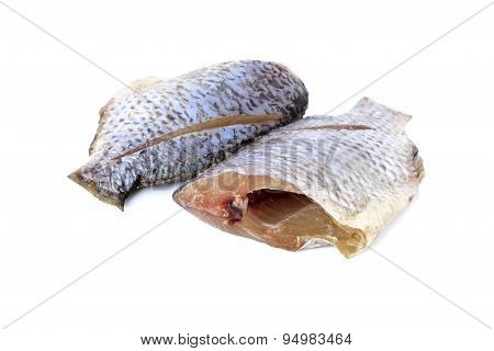 Dried Tilapia One Sun On White Background