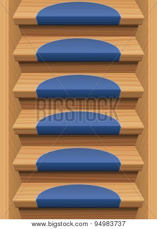 Wooden Stairs Treads Mats Blue Endless