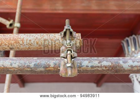 Close Up Metal Scaffolding Clamps