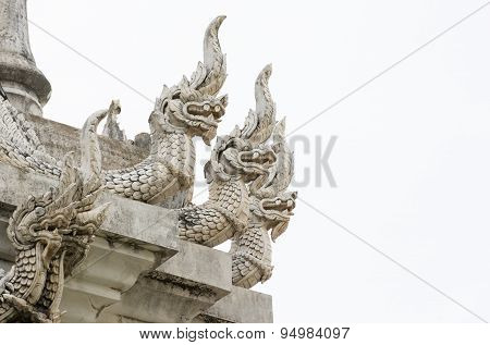 Close Up Of A Fantasy Myths Animal Sculpture Like White Giant Lion Sitting Or Standing Outdoor