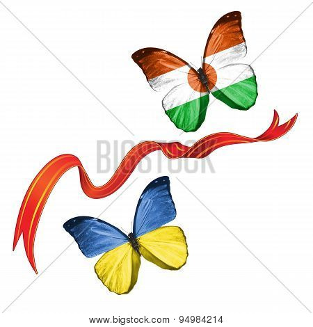 Two butterflies with symbols of Ukraine and Niger