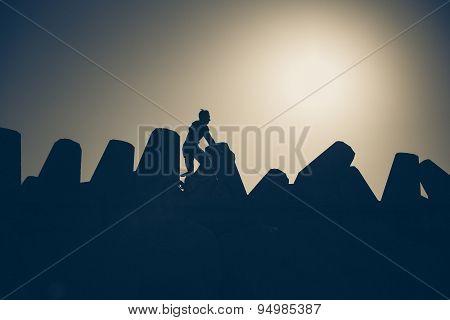 A boy rides his bike