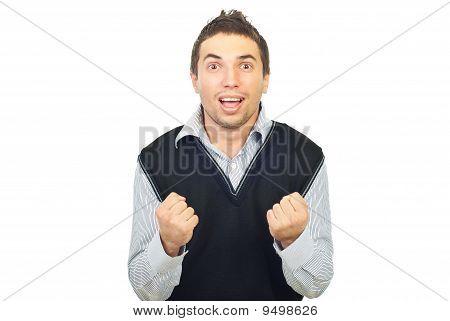 Cheering Young Man