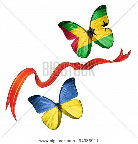 Two butterflies with symbols of Ukraine and Sao Tome and Principe