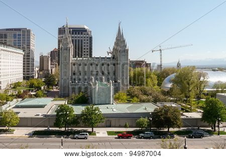 Temple Square With The Salt Lake Temple And Salt Lake Tabernacle