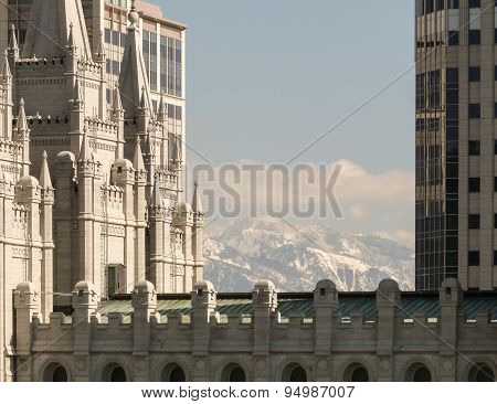 Part Of Salt Lake Temple With Mountains