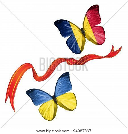 Two butterflies with symbols of Ukraine and Chad