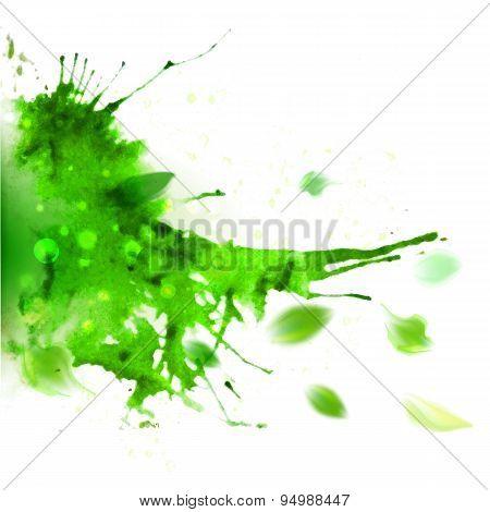 Abstract Ink Left Oriented Watercolor Splash
