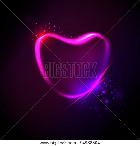 Purple Lighting Heart At Dark Background