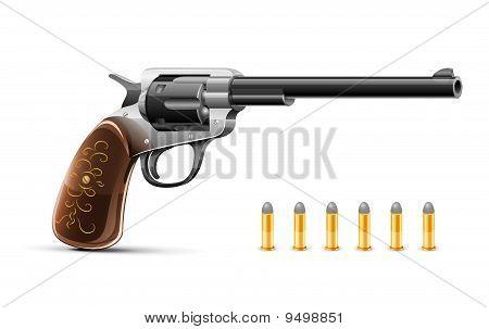 gun revolver with bullet