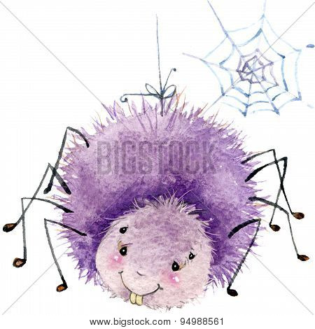 Cartoon insect watercolor illustration. isolated on white background.