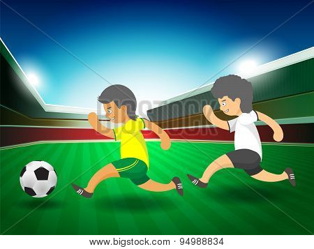 Soccer Player Running, Cartoon Vector