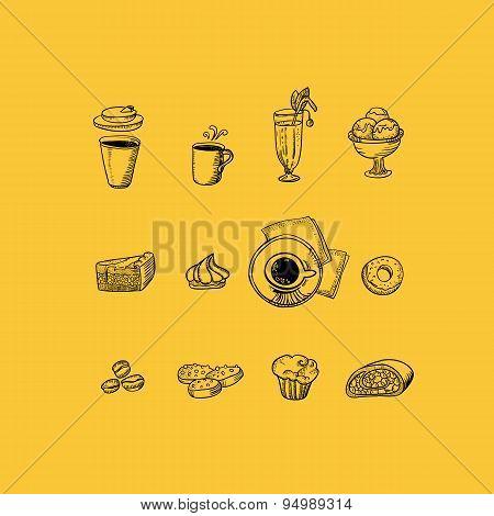 Cafe Drawing Menu Icons Set