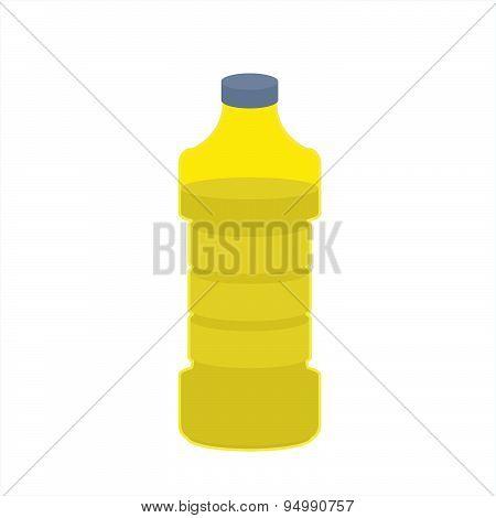 Bottle of oil sunflower on white background. cooking oil food. Vector illustration