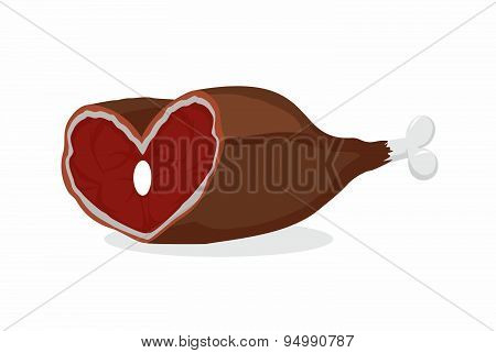 Smoked ham heart-shaped. Meat on the bone. Gammon. Love meat. Vector illustration