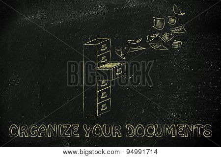 File Cabinet With Business Documents Flying, Documents Organisation