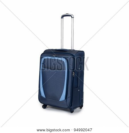 Blue travel suitcase isolated on white background
