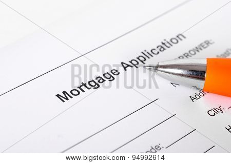 Mortgage application form close up with pen. selective focus, shallow depth of field