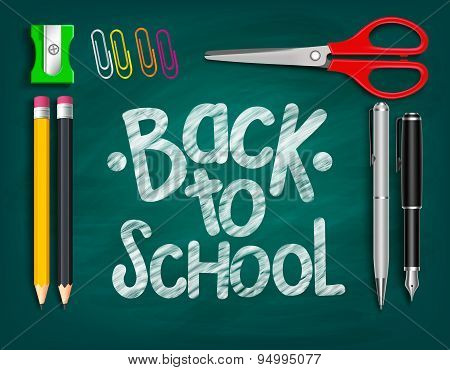 Back to School Title Words Written with Realistic School Items