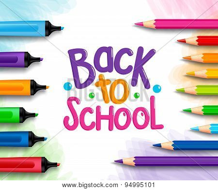 Back to School Title Words Written in a White Drawing Paper
