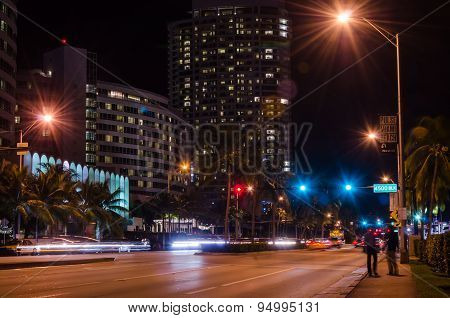 Miami, FL, United States of America - December 6, 2014 - Miami beach streets at night