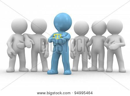 3d small person the leader of a team allocated with Crimean Tatars flag. 3d image. Isolated white ba