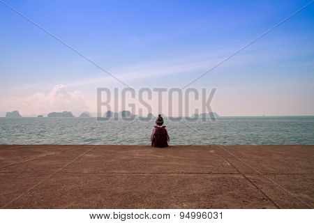 Man Alone On The Sea  Beach At Sunset Haze Calm Sea
