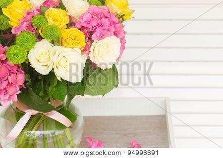pink  hortensia flowers