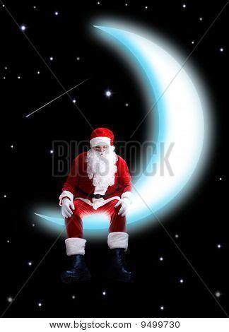 Santa On Moon