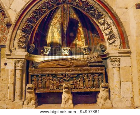 Ancient Tomb Mosaic Old Salamanca Cathedral Spain