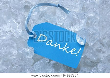 Label On Ice With  Danke Means Thank You