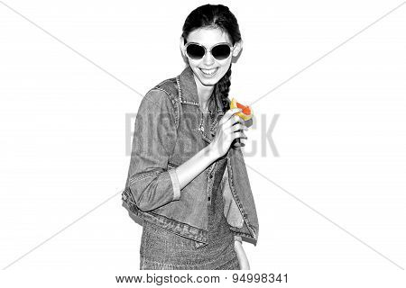 Funky trendy young woman  retro style. Beatnik