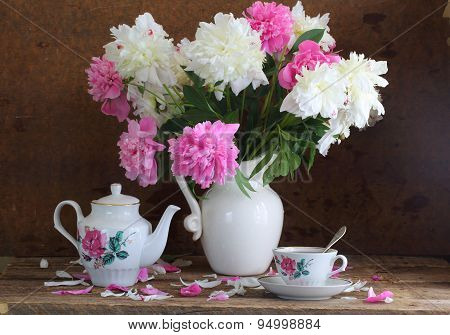 Tea And Peonies, Bouquet Of Peonies And Fragrant Tea In Beautiful Service