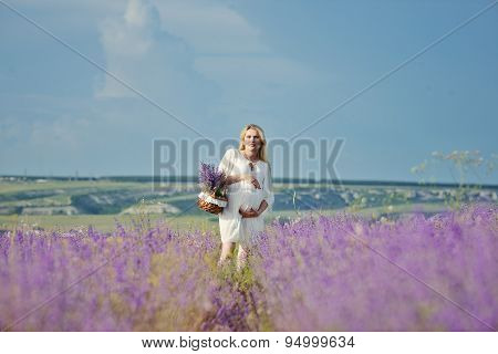 Pregnant Woman In A Lavender Field