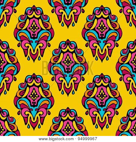 Damask vector festive yellow abstract seamless pattern