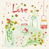 foto of mason  - Wedding romantic collection with watercolor flower in Mason Jar - JPG