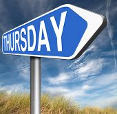 picture of thursday  - thursday road sign event calendar or meeting schedule  - JPG