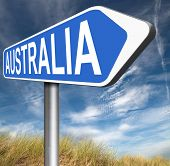 picture of continent  - Australia down under continent tourism holiday vacation economy visit and explore the country and outback road sign  - JPG