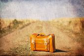 picture of old suitcase  - Old suitcase at country side road - JPG