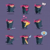 stock photo of ninja  - Collection of cute cartoon ninja warriors with various weapon - JPG
