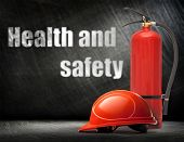 stock photo of fire extinguishers  - New blank red fire extinguisher in closeup - JPG