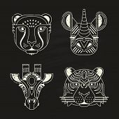 picture of rhino  - Animal portraits made in unique geometrical flat style - JPG