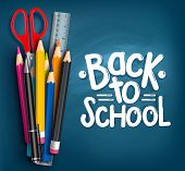 stock photo of scissors  - Back to School Title Words with Realistic School Items With Colored Pencils - JPG