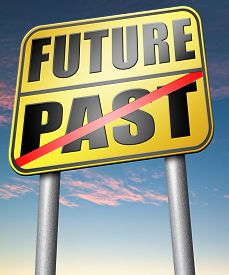 stock photo of past future  - past future predict and forecast near future fortune telling and forecast evolution and progress road sign  - JPG