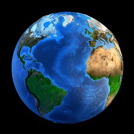 foto of landforms  - Detailed picture of the Earth and its landforms isolated on black - JPG