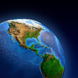 stock photo of landforms  - Detailed picture of the Earth and its landforms view of American continent - JPG