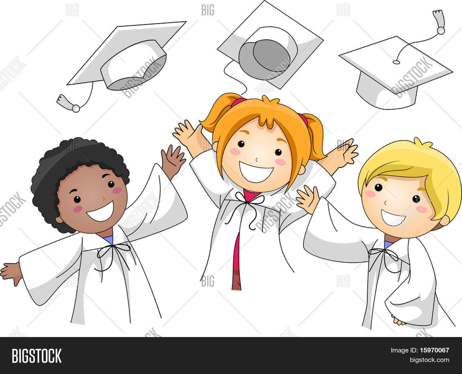 Tossing Their Graduation Caps In The Air Stock Vector Illustration